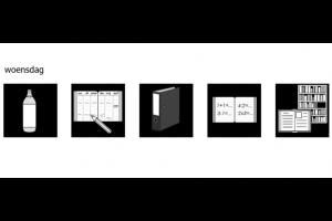 planner voor woensdag: pictogrammen water, agenda, kaft, schrift, boek