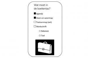 bladwijzer met items die in boekentas moeten en picto van boekentas