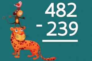 drie dieren staan op elkaar (leeuw, aap en vogel). Daarnaast staat een oefening cijferend aftrekken tot 1000