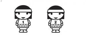Twee indiaantjes met daarop de cijfers 1 en 2