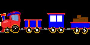 Locomotief met wagonnetjes