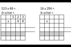 Twee cijferoefeningen van het type HTE x TE