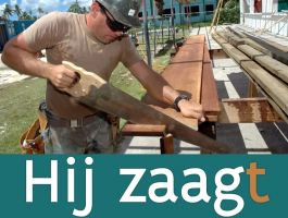 man zaagt hout