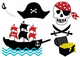piratenboot, schat, doodskop, piratenhoed