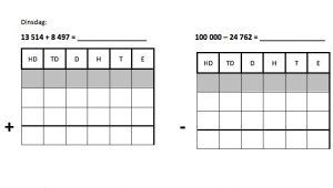 twee cijferoefeningen (cijferend optellen en aftrekken tot 100 000)