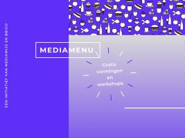 Flyer over Mediamenu - gratis vormingen en workshops door Mediawijs