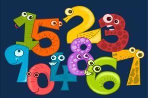 gekleurde cijfers met een gezichtje