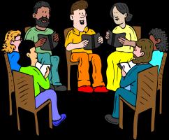 Groep mensen met een boek
