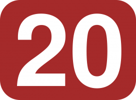 Cijfer twintig op rode achtergrond