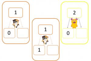 Splitskaarten van 1 en 2 met monstertjes van ClassDojo