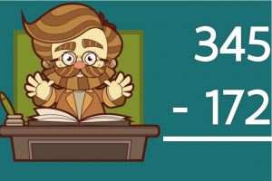 Tekening van een leraar. Daarnaast staat een oefening cijferend aftrekken tot 1000