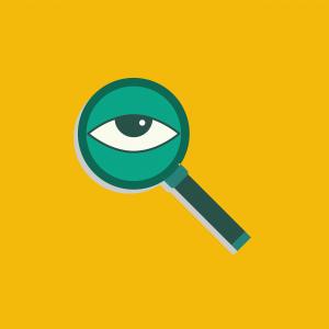 icoon van een oog in een vergrootglas