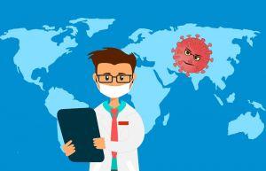 dokter, wereldkaart, rode virus