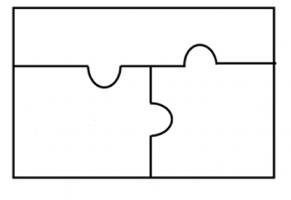 Blanco puzzelstukjes (puzzel van 3)