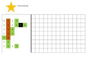 Een raster om in te kleuren aan de hand van gekleurde cijfercode.