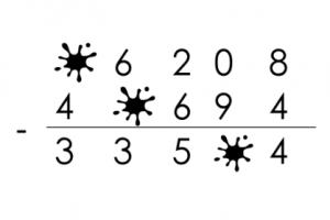 Oefening cijferend aftrekken met enkele bevlekte cijfers