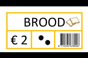 Productkaartje van brood; €2, getalbeeld 2, barcode, afbeelding boterham