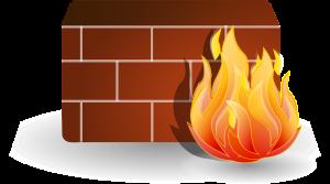 Tekening van muur met vuur als symbool voor firewall