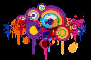 gekleurde cirkels waarbij de verf uitgelopen is