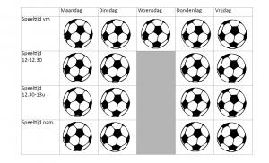 Weekoverzicht met per speeltijd een afbeelding van een bal