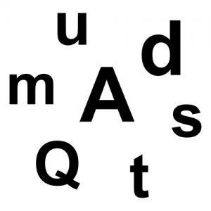 letters a, u, m, d, .... door elkaar