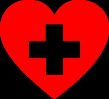 rood hart met een wit kruis in