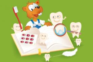 Ben de bever bij een boek omringt door tandjes en tandenborstel