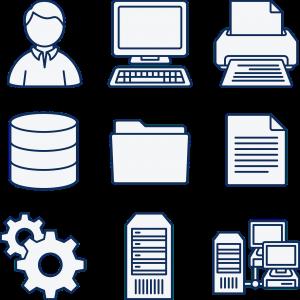 verschillende pictogrammen over computerbeheer