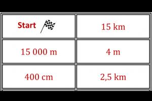 stukje van dominospel: start - 15 km - 15000m - 4 m - 400 cm - 2,5 km