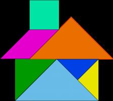 huisje gemaakt van tangram puzzelstukken