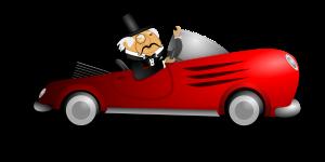 rijke man in dure auto