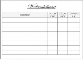 Werkwinkelkaart: opdracht, datum, controle juf