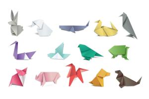 Origami in dierenvormen.