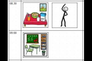 stukje uit dagplanning : picto van ontbijt en klaslokaal