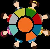 Tekening van verschillende figuurtjes in een cirkel