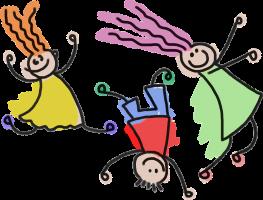 Tekening drie spelende kinderen