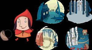 tekeningen uit het verhaal van Roodkapje