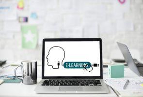 scherm, hoofd, e-learning