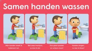 Poster samen handen wassen met daarop de te volgen stappen