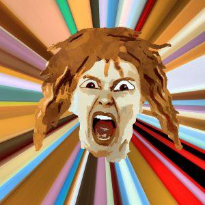tekening van woedend gezicht