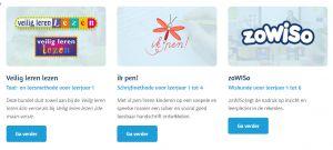 Screenshots tijdelijke website oefenbundels