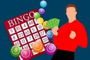 clipart van een man naast een bingokaart