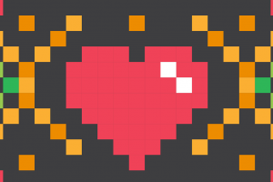 hartje gemaakt van pixels