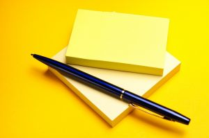 memoblokjes en een pen