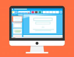 Tekening van computerscherm met presentatiesoftware