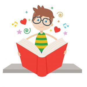 jongetje met bril dat in een boek leest