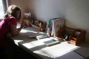 kind dat thuis aan bureau studeert