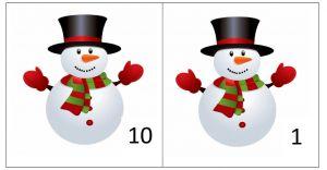 Sneeuwman met het cijfer 10