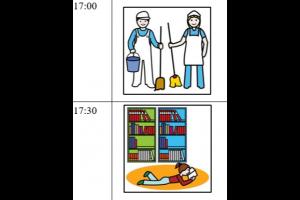 stukje uit dagschema: 17:00 picto van huishouden / 17:30 picto van lezen