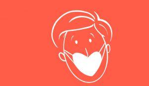 Tekening van een persoon met een mondmasker in de vorm van een hart